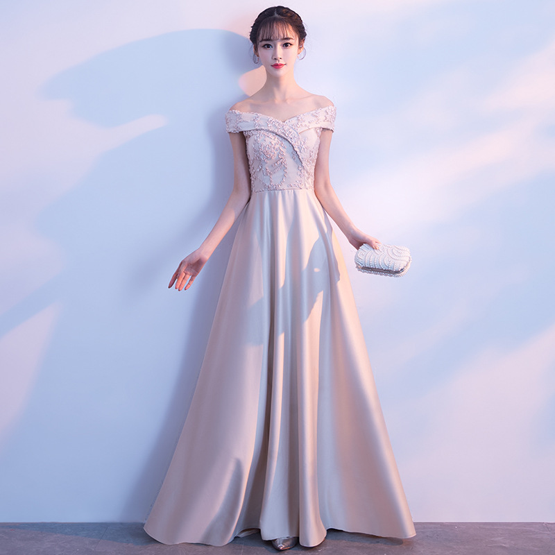Banquet Evening Gown 2019 New Style Korean-style Nobility Dignified Glorious Off-Shoulder Long Slimming Bridesmaid Dress Women's