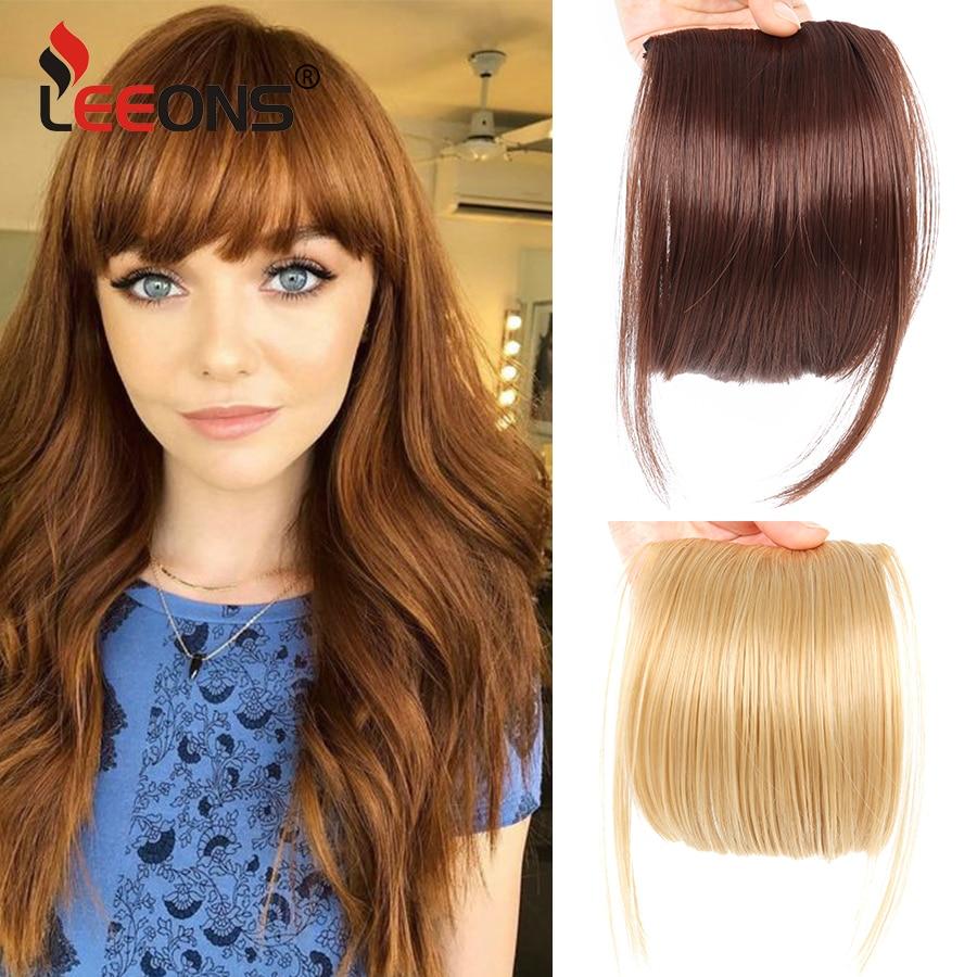 Leeons-frange synthétique à Clip naturelle 6 pouces | Postiche brune noire claire, faux cheveux à frange plate et couleurs pures