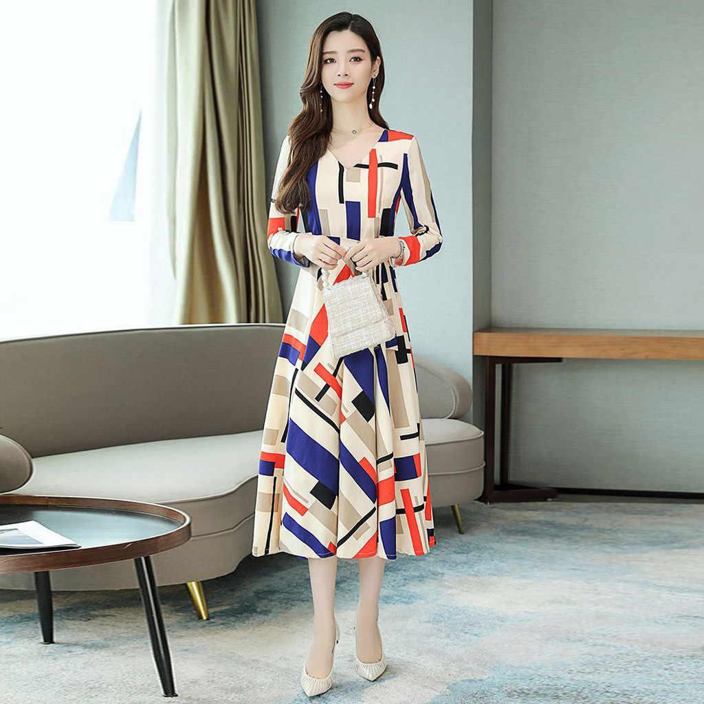 Kore tarzı kadın elbise Boho Sundress kış v yaka uzun kollu büyük boy Maxi elbise zarif parti uzun evaze elbise