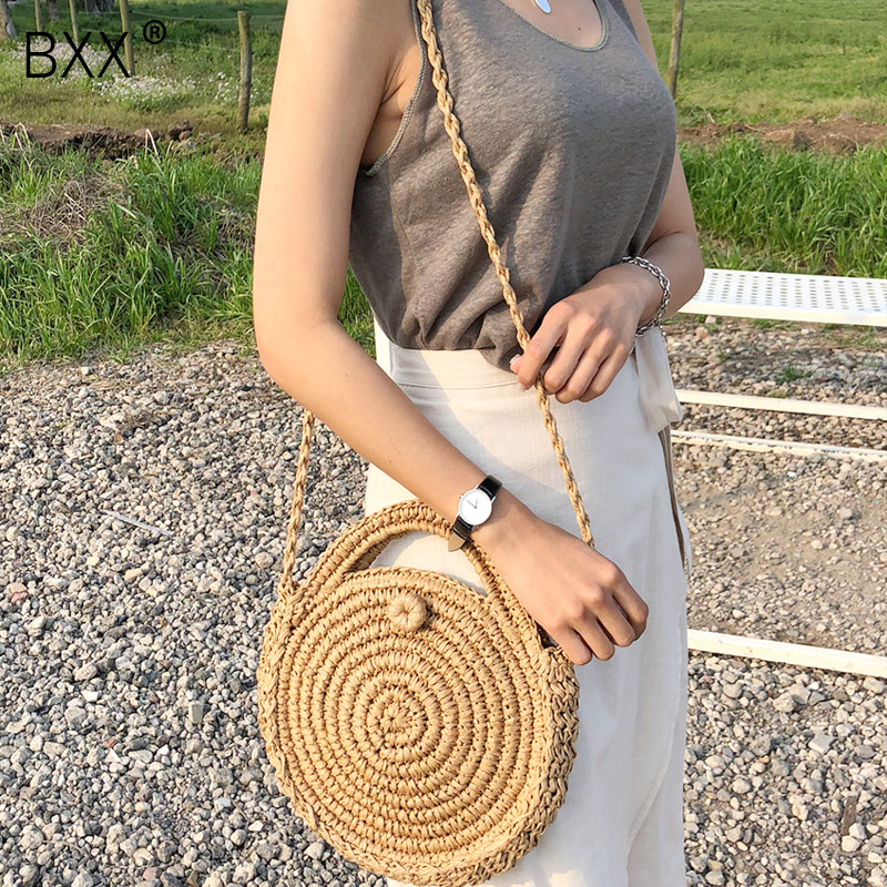 [BXX] Handmade Woven Round Handbag 2020 Spring Summer Vintage Straw Rope Knitted Messenger Bag Lady Bag Summer Beach Totes HK808