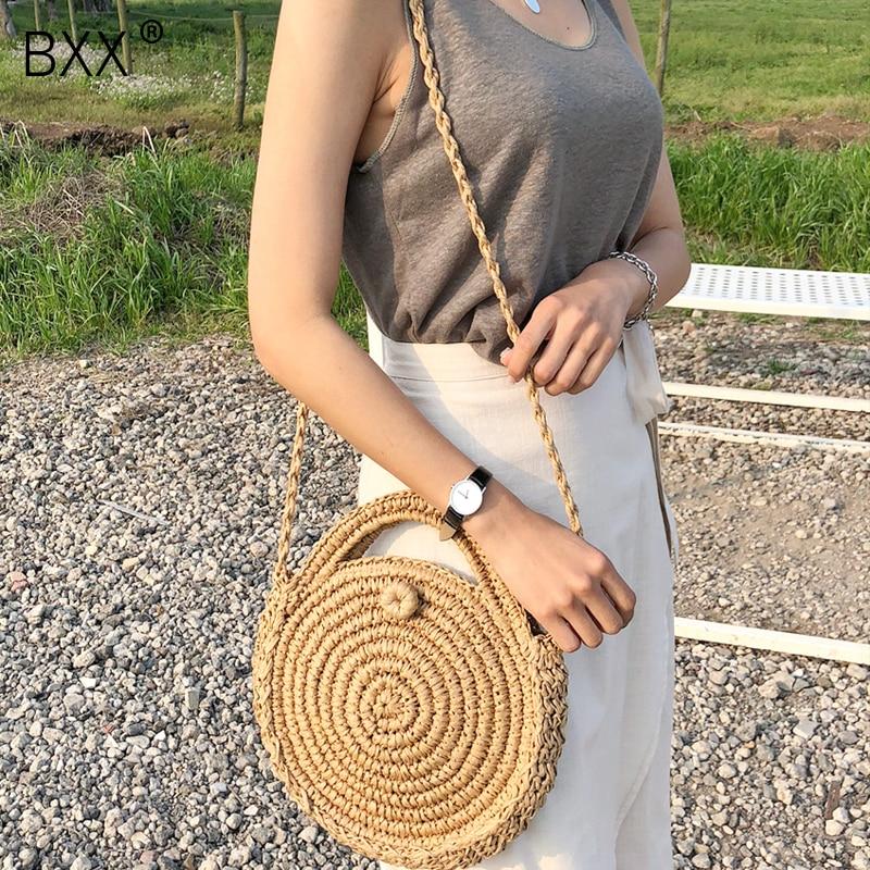[BXX] Handmade Woven Round Handbag 2020 Spring Summer Vintage Straw Rope Knitted Messenger Bag Lady Bag Summer Beach Totes HK808
