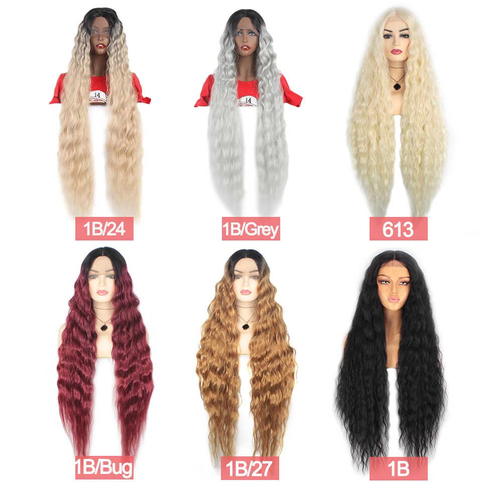 Peluca frontal de encaje sintético Leeven pelucas negras de onda de agua para mujer pelucas de pelo largo negro marrón 613 peluca rubia Cosplay pelo