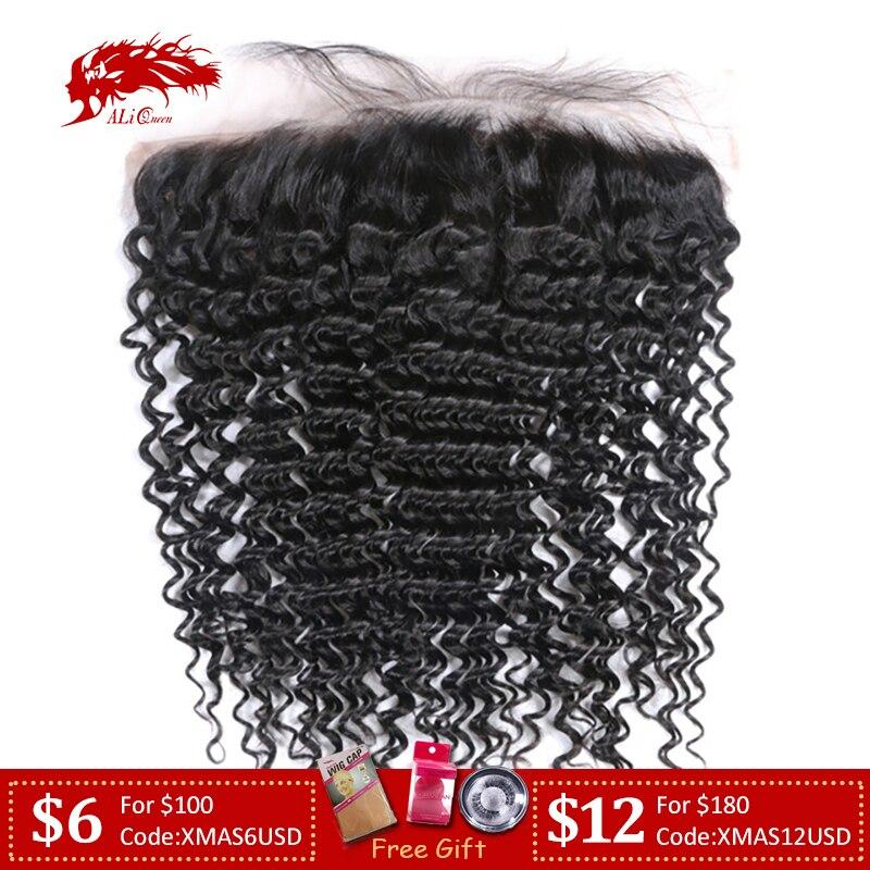 Ali Queen Hair Deep Wave Brazilian Virgin Human Hair Lace Frontal XP/10A Natural Color 10
