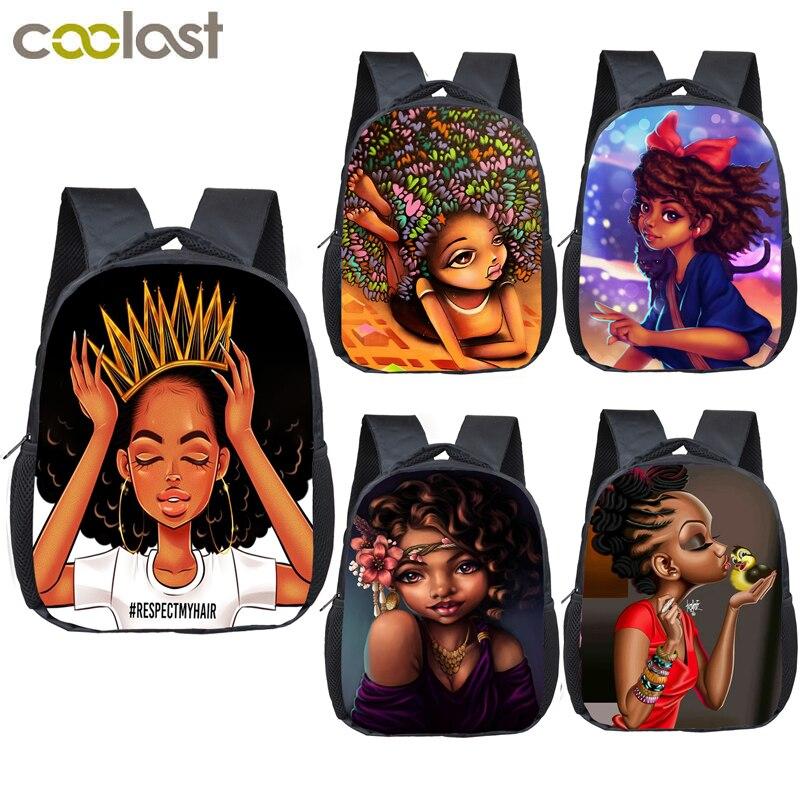 12 дюймовый милый рюкзак с рисунком для девочек афро, детские школьные сумки, коричневый красивый детский рюкзак принцессы для детского сада, сумка для малышей|Школьные ранцы|   | АлиЭкспресс