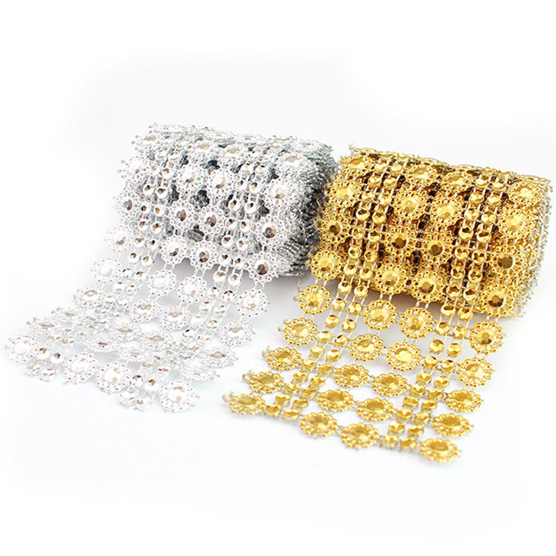 1Yard Bling Sun Flower Acrylic Mesh Roll Ribbon Chain Wrap Crystal Craft Ribbons Tape Tulle Event Party Wedding DIY Decorations