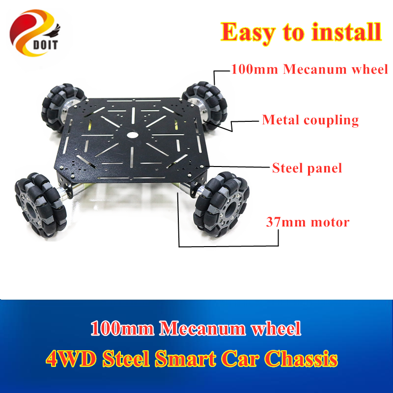 4WD 100mm Omni Wheels Robot Car Chassis Stain Steel Frame with 4pcs DC Big Power 12V motor for DIY Toy Car Owi Robot Competition
