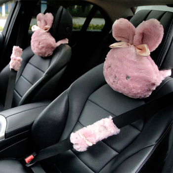 Cute Bunny Neck Pillow Soft Car Headrest Pillow Car Interior Accessories for Girls Shoulder Safety Suit Dropshipping image