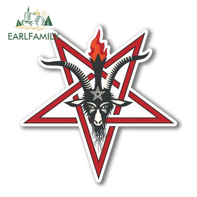 EARLFAMILY 13cm X 13cm Pentagram Symbol Vinyl Stickers Laptop Pagan Satanic Goats Head Car Sticker For Window Bumper Trunk Decal