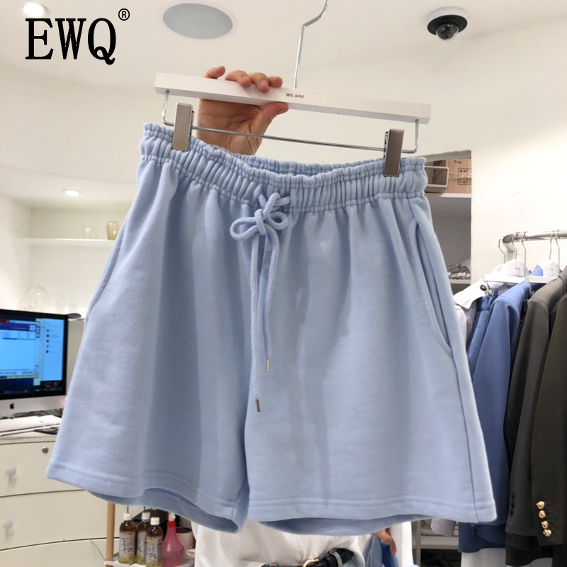 [EWQ] 2020 Summer New Pattern Cotton Solid Patchwork Ealstic Drawstring High Waist Casual Sweatshorts Women 3AJ22311