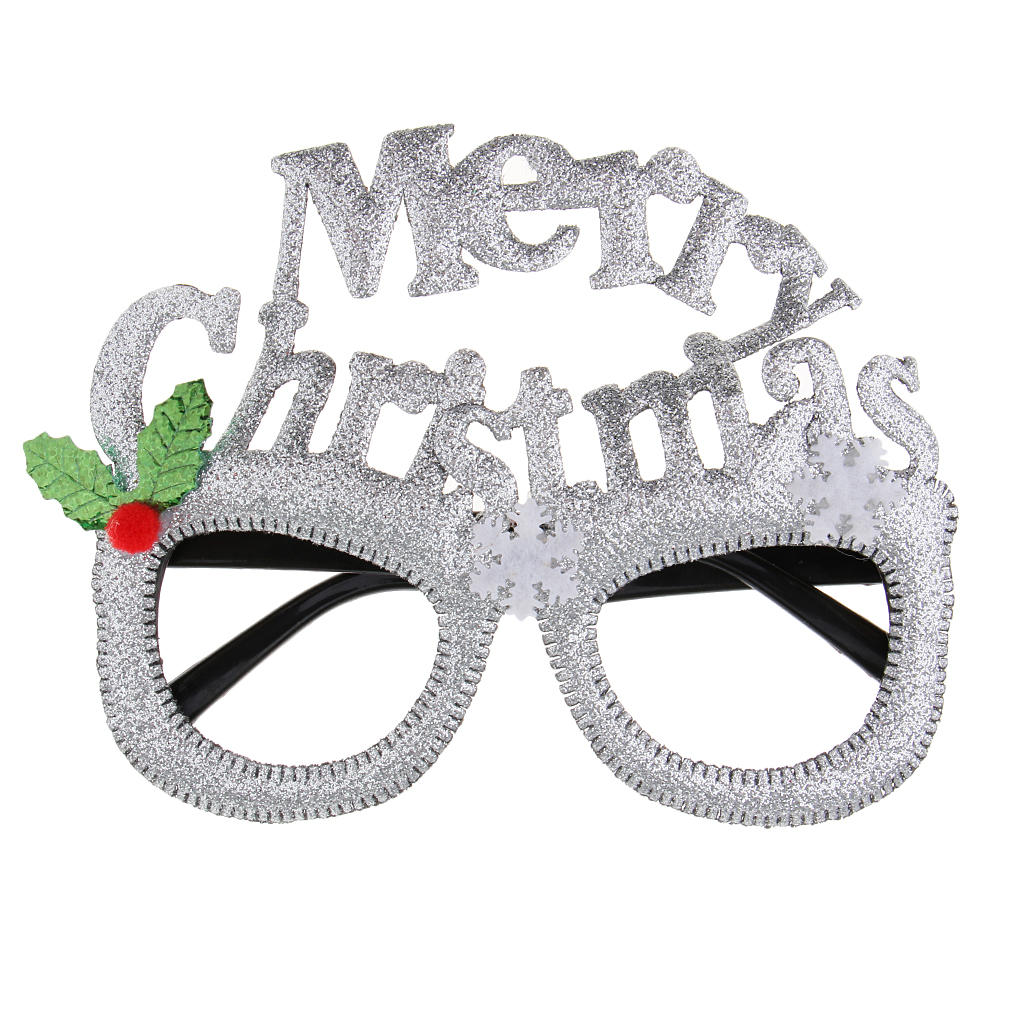 Novelty Christmas Fancy Dress Glasses Silver Glitter Snowflake