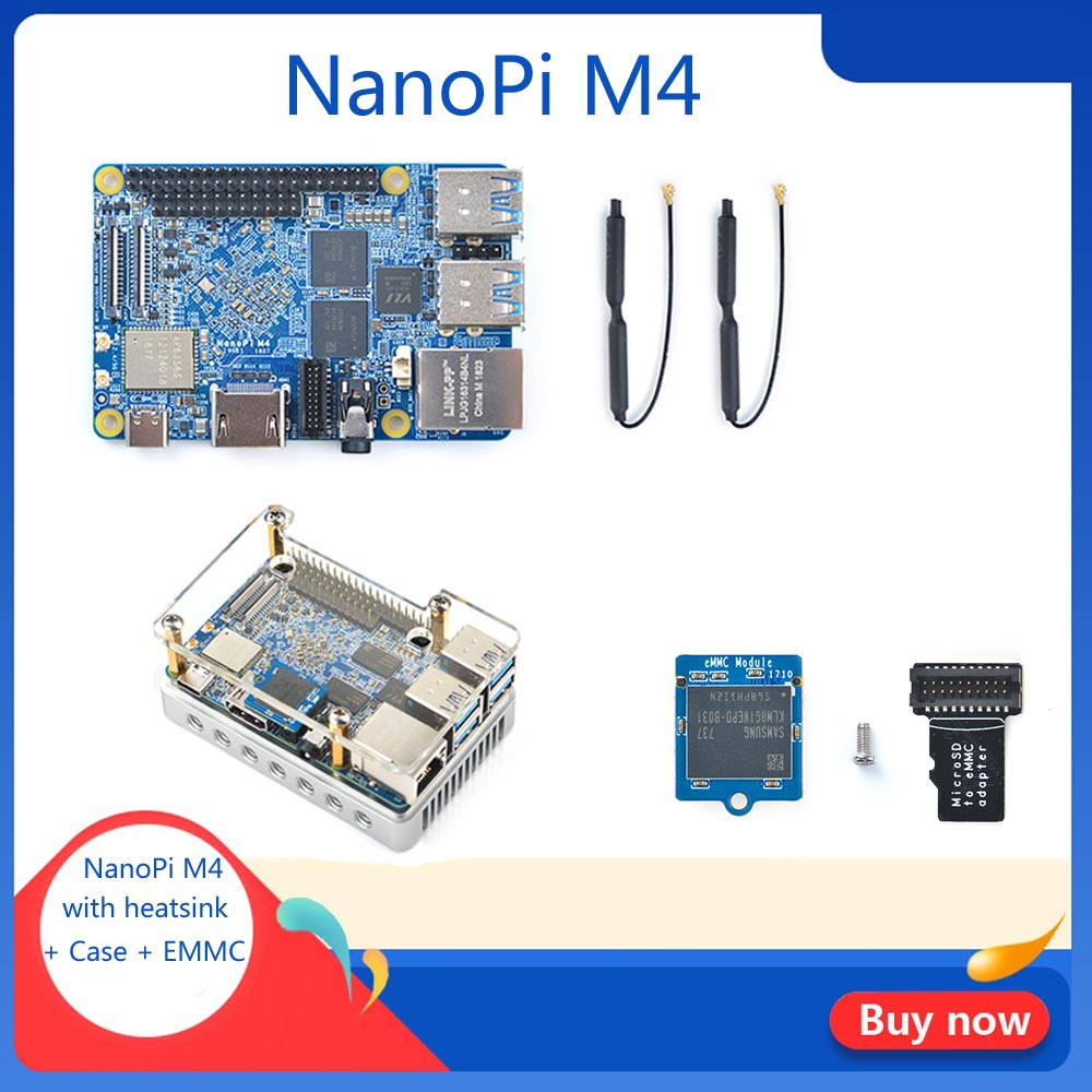 NanoPi M4 2GB/4GB DDR3 Rockchip RK3399 SoC 2.4G & 5G Dual-band WiFi+Bluetooth 4.1 Supports Ubuntu Android Free Shippping