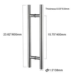 Image 2 - 24 סנטימטרים מודרני עגול בר סולם למשוך ידית נירוסטה הזזה אסם דלת ידית עבור 8 12mm זכוכית או 40 45mm עץ דלת