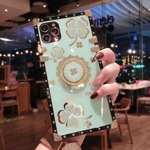 Image 3 - אופנה בלינג ריינסטון פרח Stand מחזיק כיכר מקרה טלפון עבור Samsung Galaxy S8 S9 S10 S20 FE S21 בתוספת הערה 8 9 10 20 אולטרה