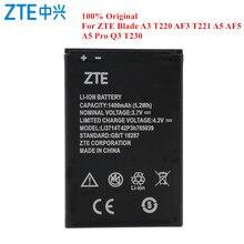 원래 배터리 Li3714T42P3h765039 ZTE 블레이드 A3 T220 AF3 T221 A5 AF5 A5 프로 Q3 T230 1400mAh 실제 용량 Akku