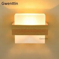 Nordic madeira lâmpada de parede espelho vidro luz moderna led arandela para o quarto cabeceira casa decoração do banheiro luminárias e27