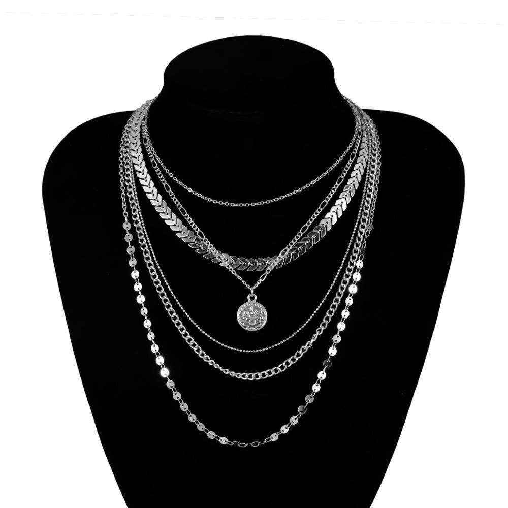 Женское многослойное ожерелье с блестками, ожерелье серебряного цвета с цепочкой для монет, Ювелирное Украшение в богемном стиле