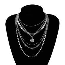 Boêmio multi camada de corrente gargantilha colar lantejoulas colares para as mulheres moda prata cor moeda correntes colar por atacado jóias