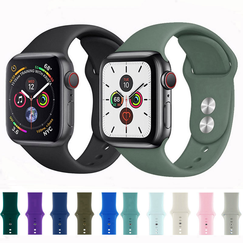 Silicone Strap For Apple Watch 5 4 Band Correaapple Watch 44mm 40mm 42mm 38mm Iwatch 5 4 3 2 1 Sport Bracelet Bands
