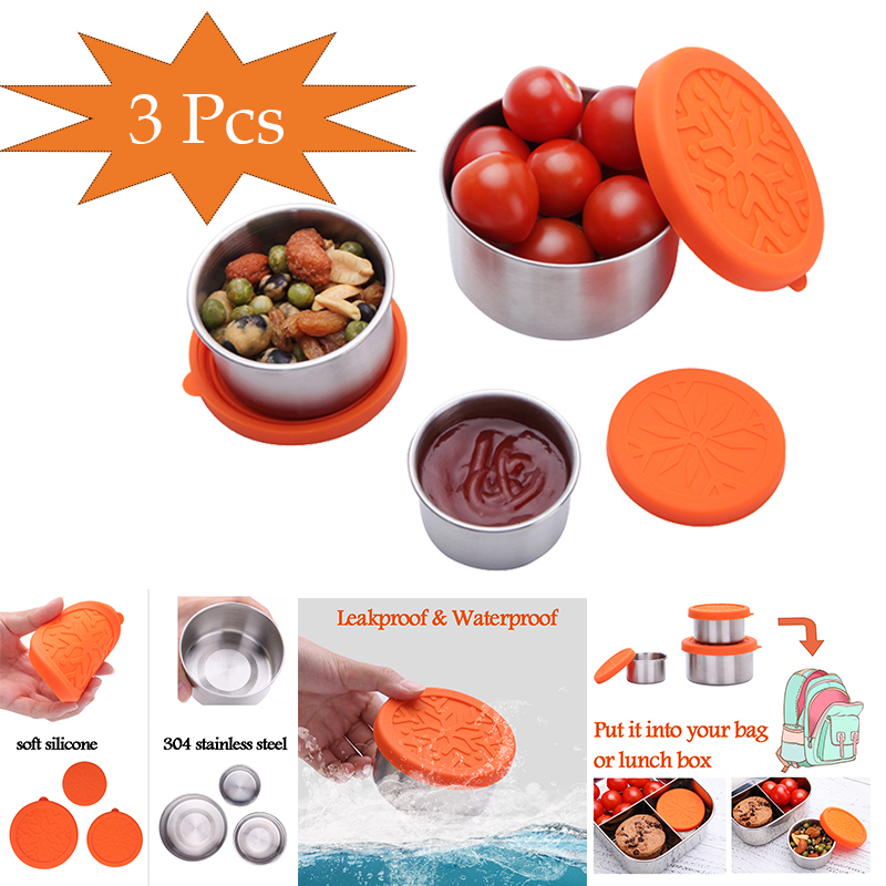 Condiment Containers With Silicone Lids Stainless Steel Lunch Bento Container Spice Sauce Nut Ketchup  Storage Box Lunch Boxes     - title=
