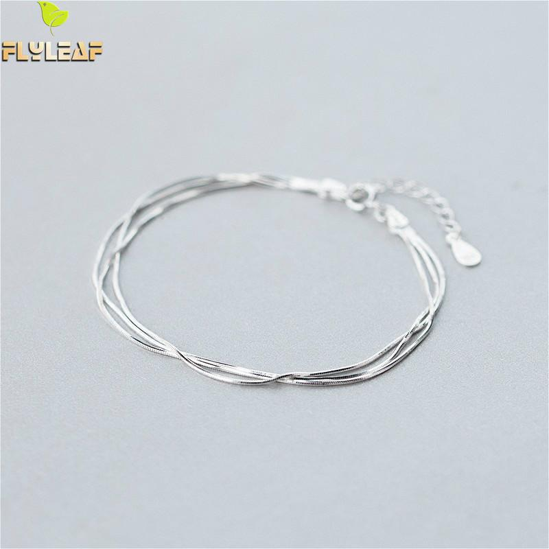 Flyleaf Simple Multi-layer Snake Chain Real 925 Sterling Silver Bracelets For Women Fashion Fine Jewelry Bracelets & Bangles