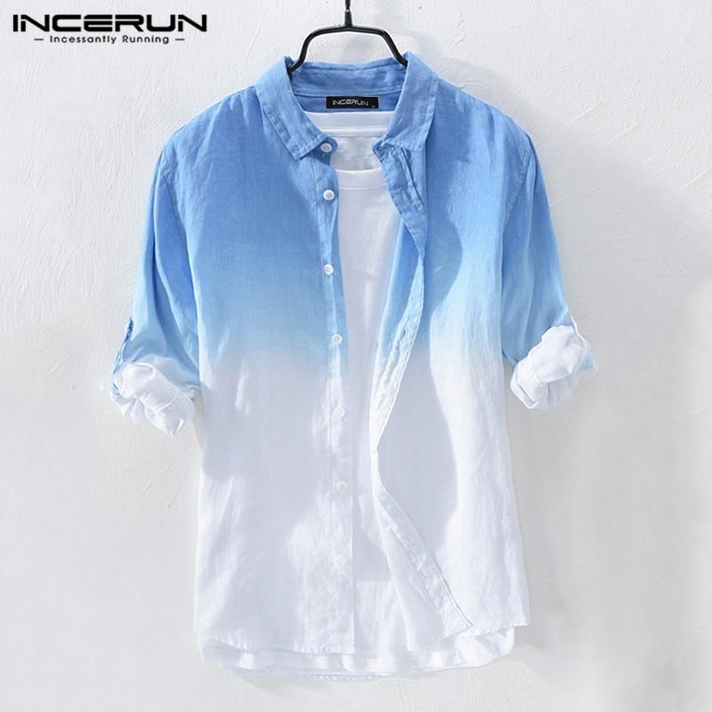 Fashion Men Casual Shirt Hanging Dyed Gradient Cotton Blouse Streetwear Long Sleeve Lapel Collar Brand Shirts Men 2019 INCERUN