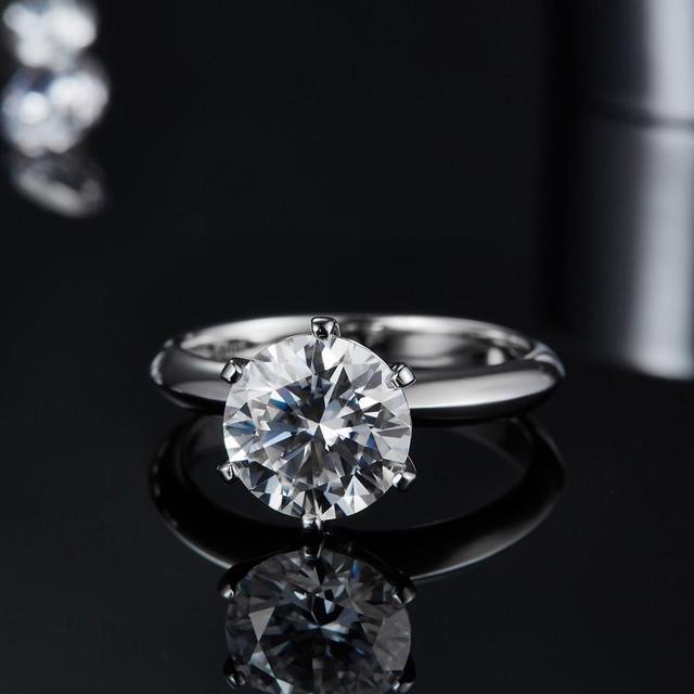 GEM'S BALLET 925 Sterling Silver Moissanite Ring 1ct 2ct 3ct Round Moissanite Diamond Solitaire Engagement Rings For Women 4