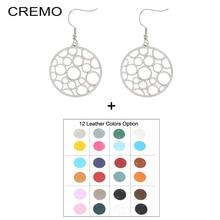 Cremo Drop Hanging Dangle Earrings Jewelry Steel Bubble Round Earrings for Women Interchangeable Leather Drop Earrings цена в Москве и Питере
