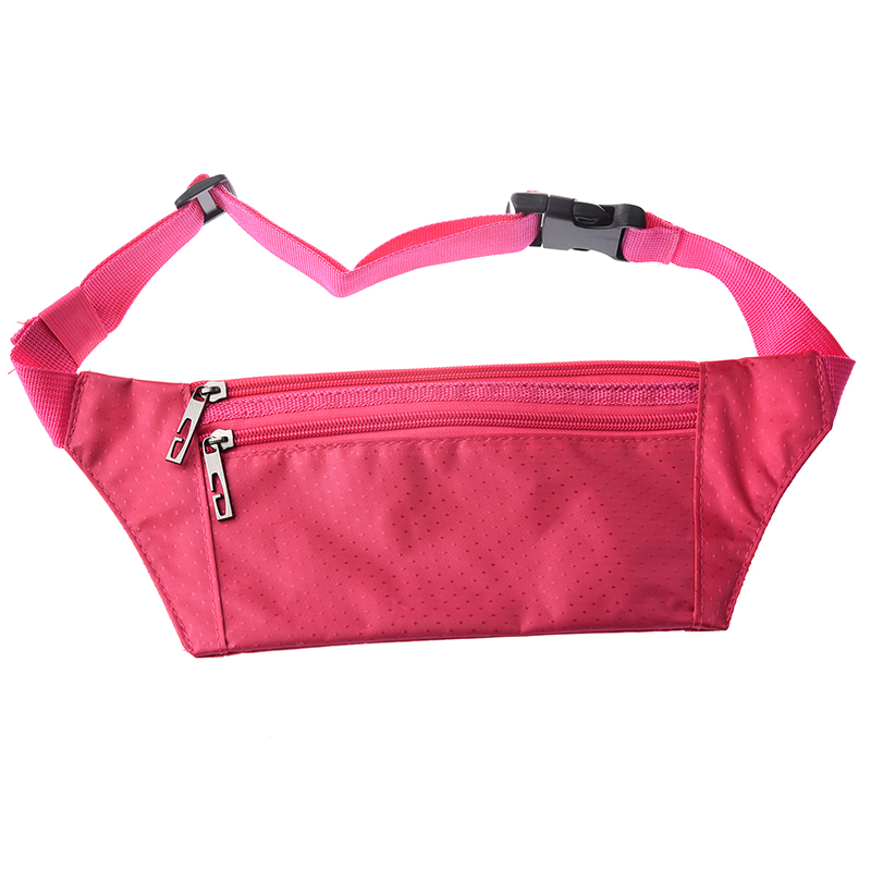 Waist Belt Polyester Zipper Bag For Men Women Fuchsia