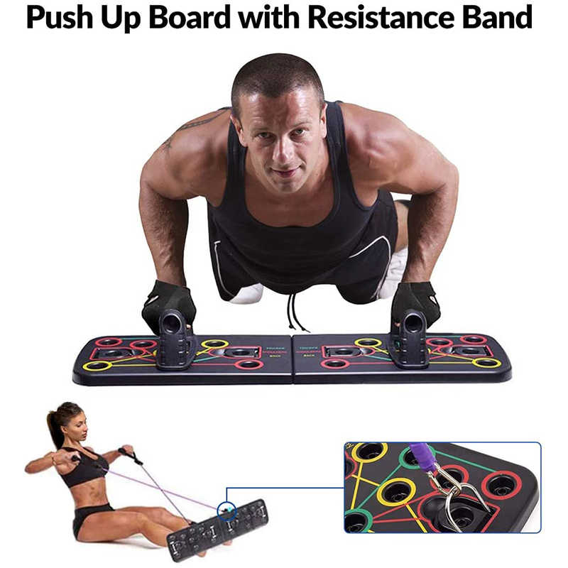 FOLDING 14 in 1 Push Up Rack Board System Fitness Workout Gym Exercise Stands US