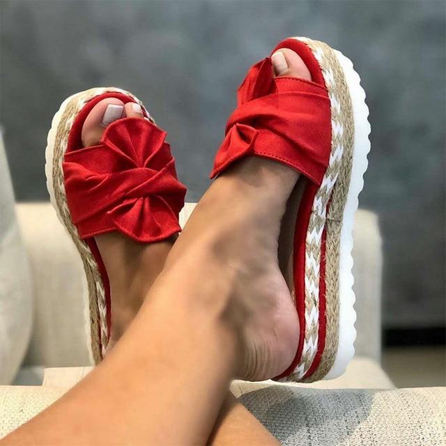 Women Slides Bow Summer Slippers Ladies Sandals Bow-Knot Slipper Thick Soles Flat Platform Female Floral Beach Shoes Flip Flops Uncategorized Fashion & Designs Ladies Shoes Women's Fashion