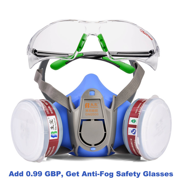 Safeyear Anti Fog Safety Glasses & Half Face Gas Mask Respirator- GM500 Anti Pollution Dust Respirator Mask N95 FFP3