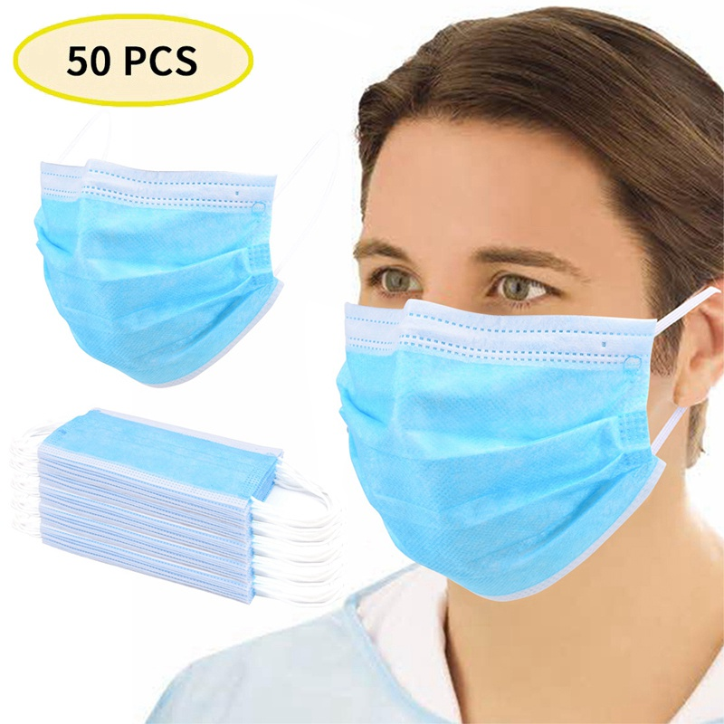 50Pcs Disposable Mouth Mask Mascarillas 3 Layer Non-woven Dust Filter Mouth Cover Anti-Flu Bacteria Proof Dropshipping