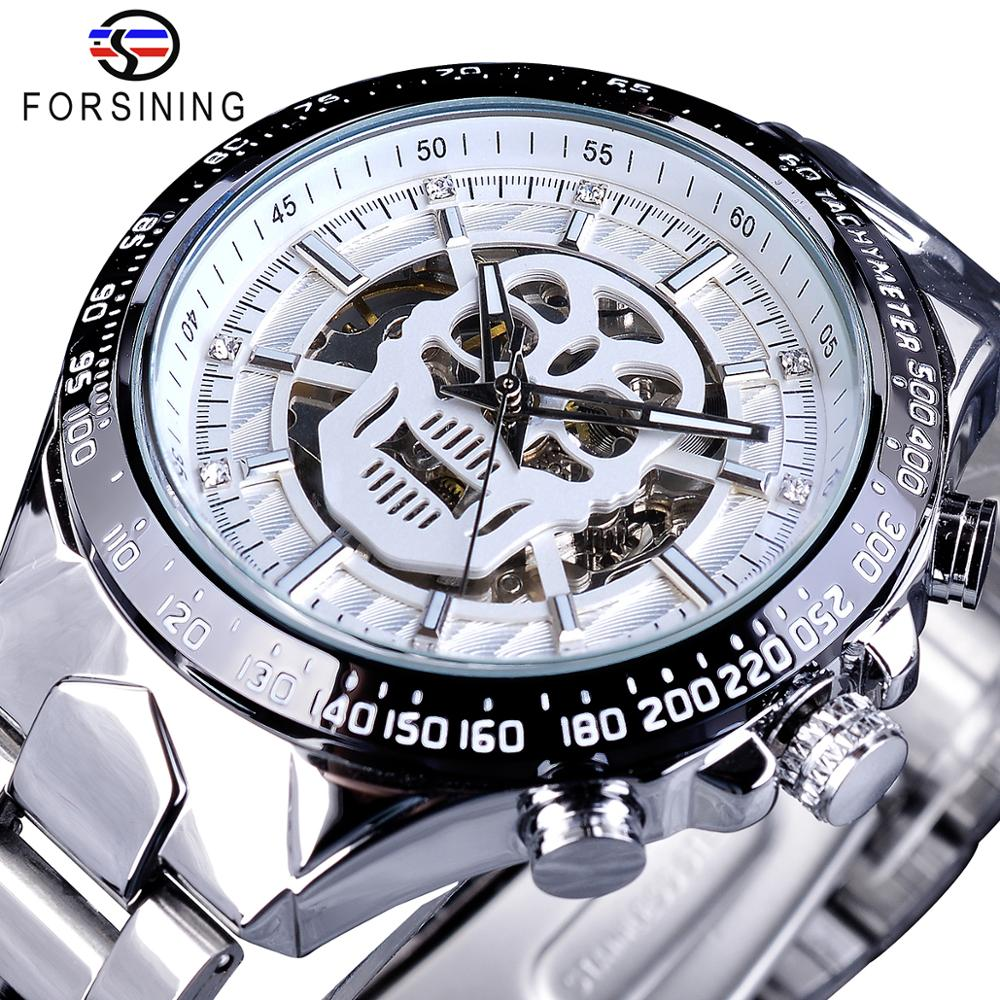 Forsining Brand New Men Mechanical Watches Ghost Head Skull Skeleton Automatic Silver Stainless Steel Sport Relogio Dropshipping