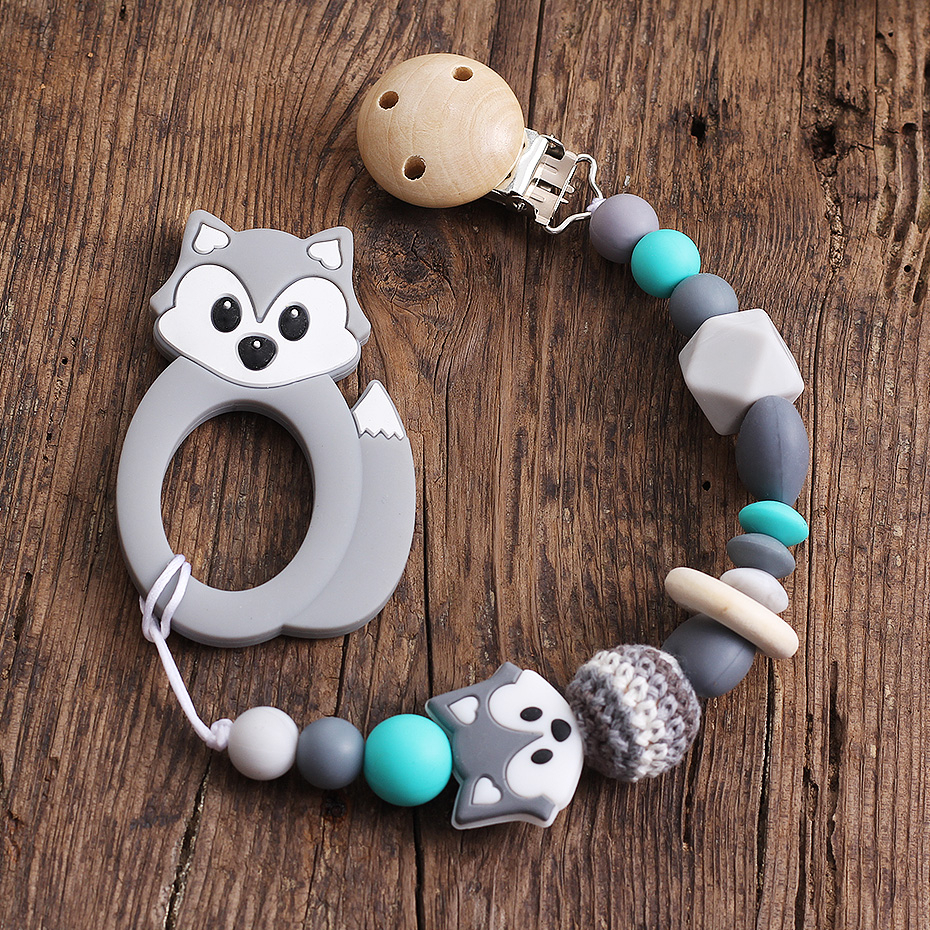 Fox  Pacifier Clips Fake Dummy Clip Clamp Wood Silicone Bisphenol A-Free Baby Gift Customized Personalized Beads
