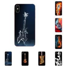 Água E Fogo Guitarra Pintura TPU Da Pele Para O iPhone Da Apple X XS Max XR 4 4S 5 5C 5S SE 7 8 6 6S Plus(China)