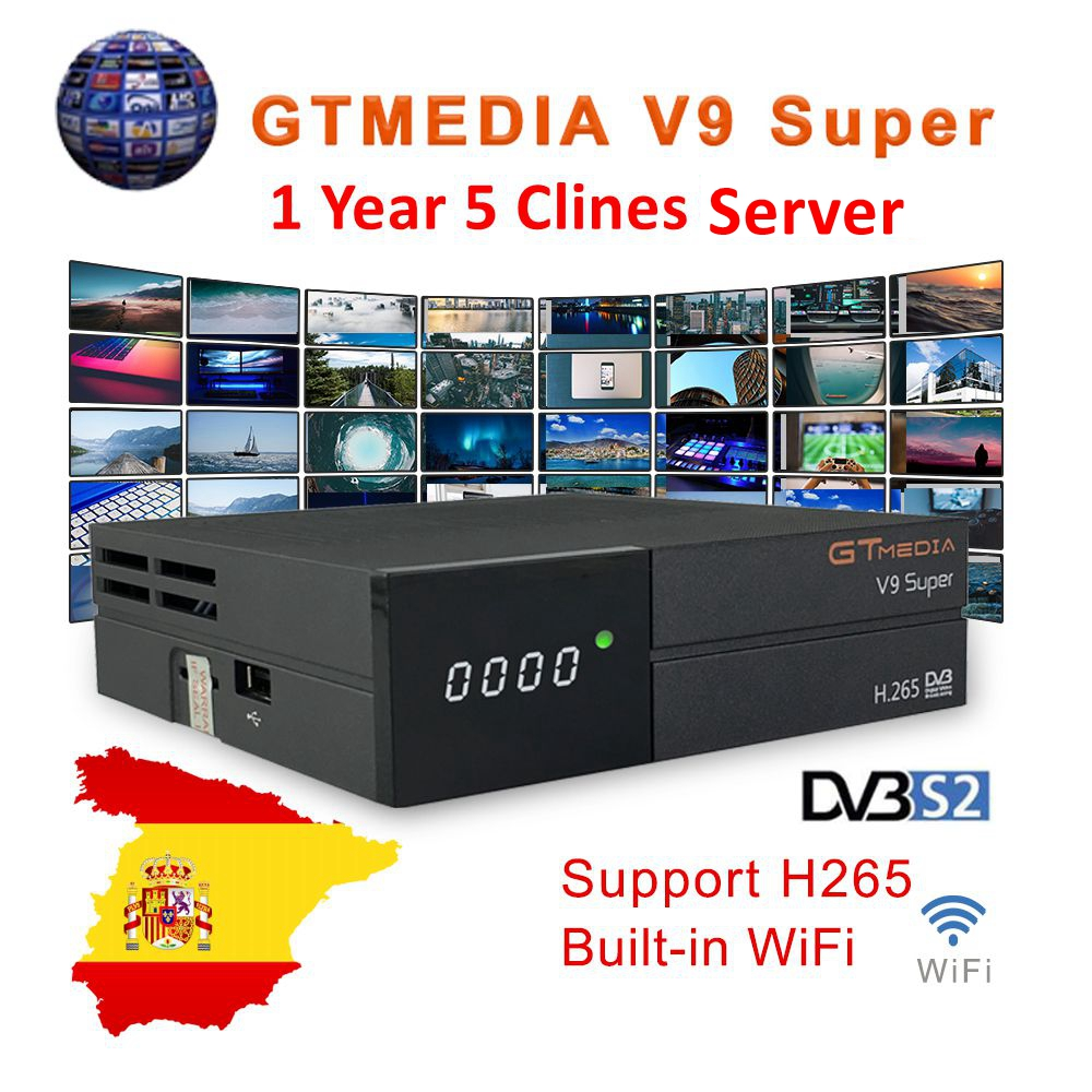 GTmedia V9 Super Digital TV Satellite Receiver DVB-S2 H.265 DRE &Biss Key 1 Year Spain CCAM PK Freesat V7S HD V8 NOVA X96 Mini