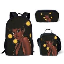 NOISYDESIGNS 3pcs/set School Bags for Kids Bag Black Art African Girls Print Schoolbag Teenagers Primary Book  Mochila Escolar чайник мастерица эч 0 5 0 5 220з green
