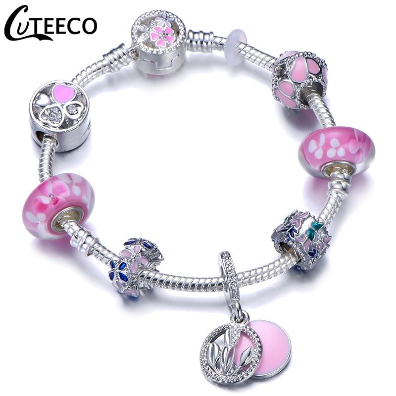 CUTEECO 925, модный серебряный браслет с шармами, браслет для женщин, Хрустальный цветок, сказочный шарик, подходит для брендовых браслетов, ювелирные изделия, браслеты - Окраска металла: AJ3176