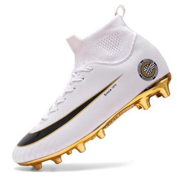 Białe złote męskie buty piłkarskie wysokie kostki buty piłkarskie kobiety miękkie Groud człowiek buty piłkarskie Botas De Futbol skarpety knagi szkolenia tanie i dobre opinie BOJIYUREN Długie Kolce Średnie (b m) men football boots RUBBER Lace-up Ptpp Lycra Pasuje prawda na wymiar weź swój normalny rozmiar