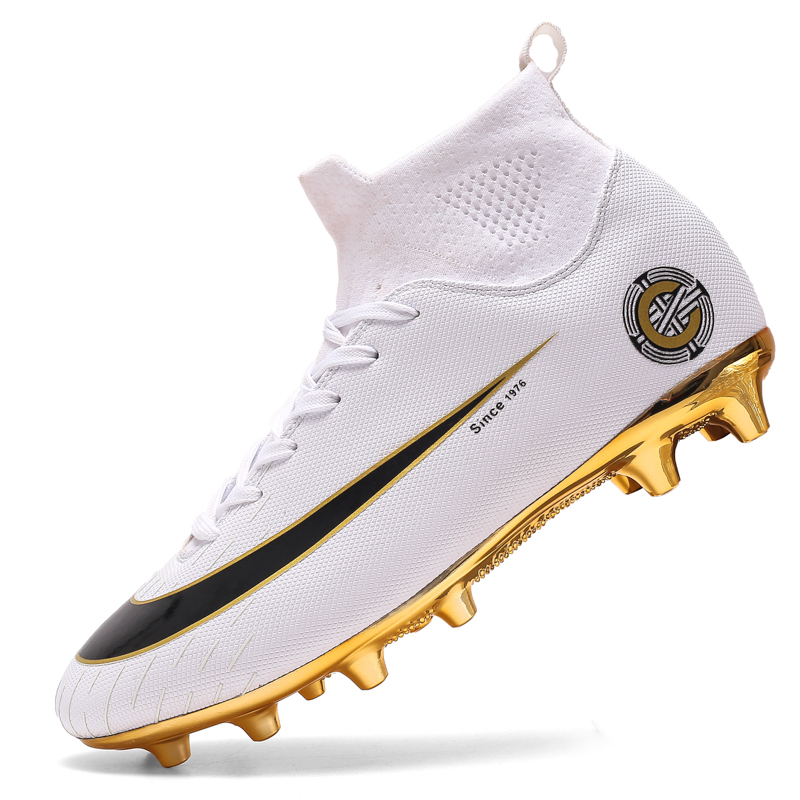 Soccer-Shoe Cleats Football-Shoes Soft-Groud Training White High-Ankle Men Women Golden title=