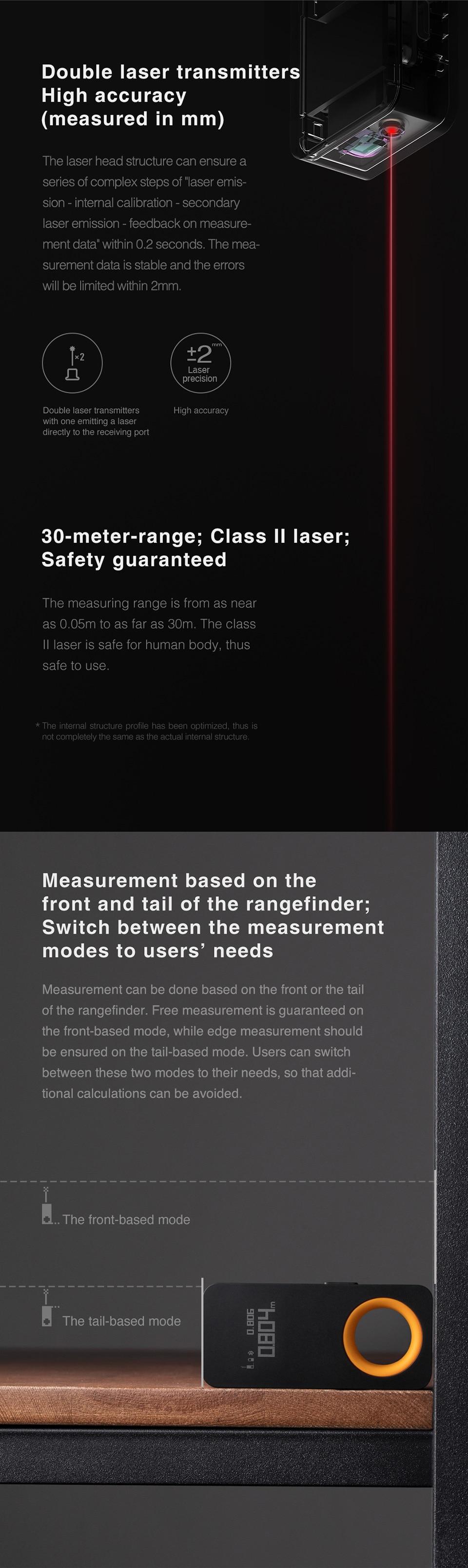 H474443333e3b441aaf3d33950e0d5222L - ตลับเมตรเลเซอร์ วัดระยะทาง Rangefinder 30M หน้าจอแสดงผล OLED วัดระยะห่างด้วยแสงเลเซอร์ เชื่อมต่อโทรศัพท์มือถือ