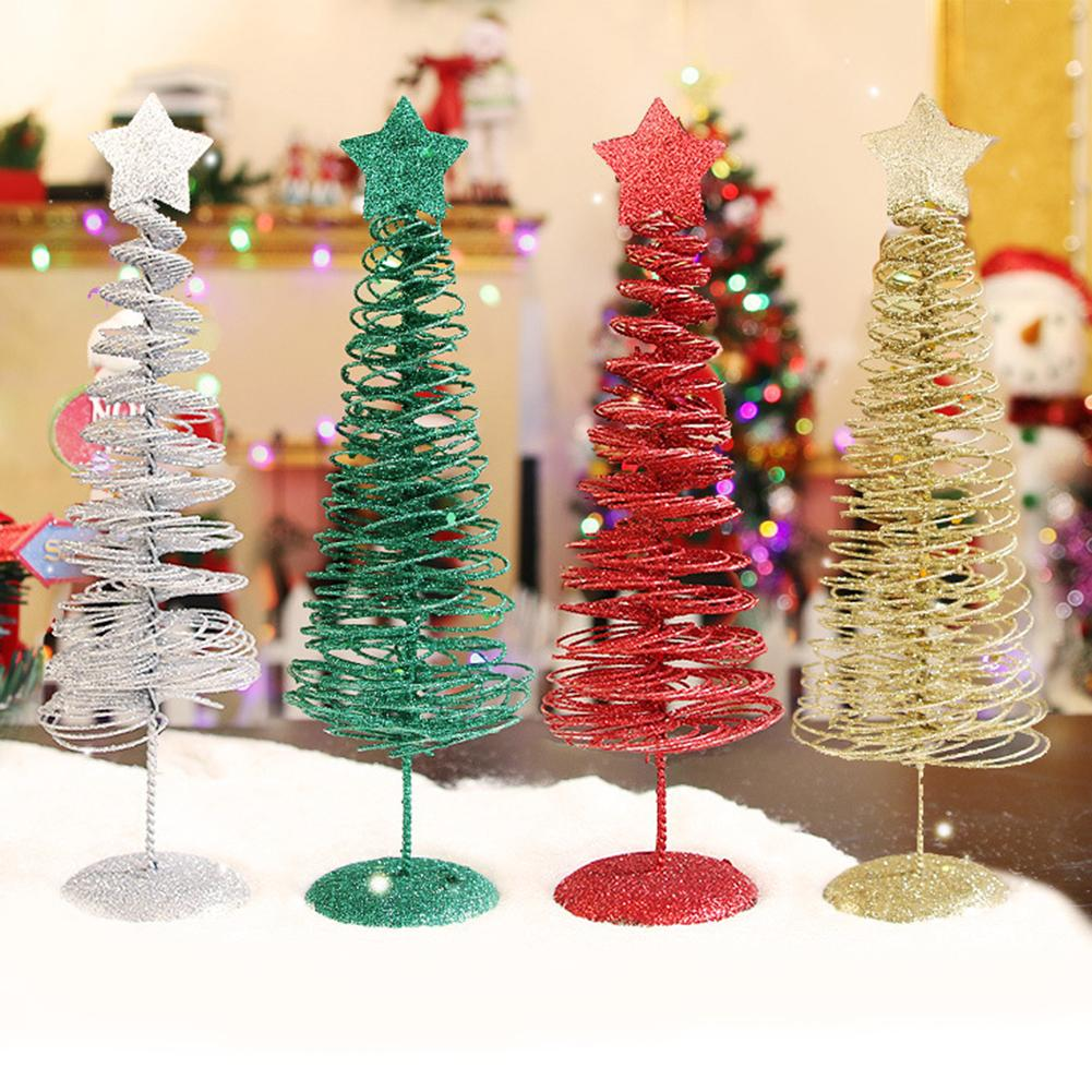 Small DIY Iron Christmas Tree Fake Pine Tree Mini Sisal Bottle Brush Christmas Tree Santa Snow Frost Village House Christmas 2 image