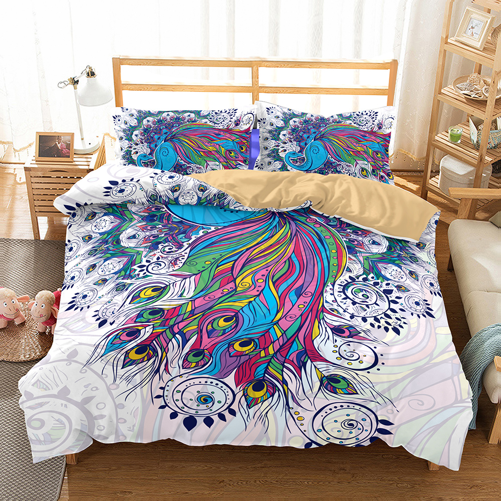 Custom Colorful Feather Bedding Set Girls Boys Home Comforter Cover Twin Full Queen King Duvet Cover Set 2 3pcs With Pillowcase Bedding Sets Aliexpress
