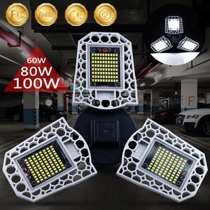 Image 5 - 100W 80W 60W E27 LED Lamp 110V 220V LED Bulb Deformable High Power Smart Light For Warehouse Factory Garage Basement Gym