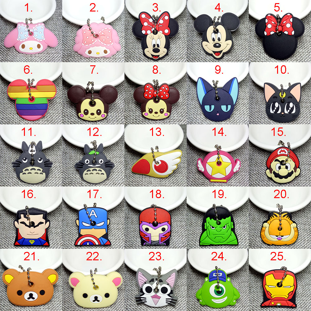 15PCS Cartoon Anime Keychain Cute Minne Key Chain Silicone Mickey Stitch Bear Key Cover Cap Women Gift Owl Porte Clef image