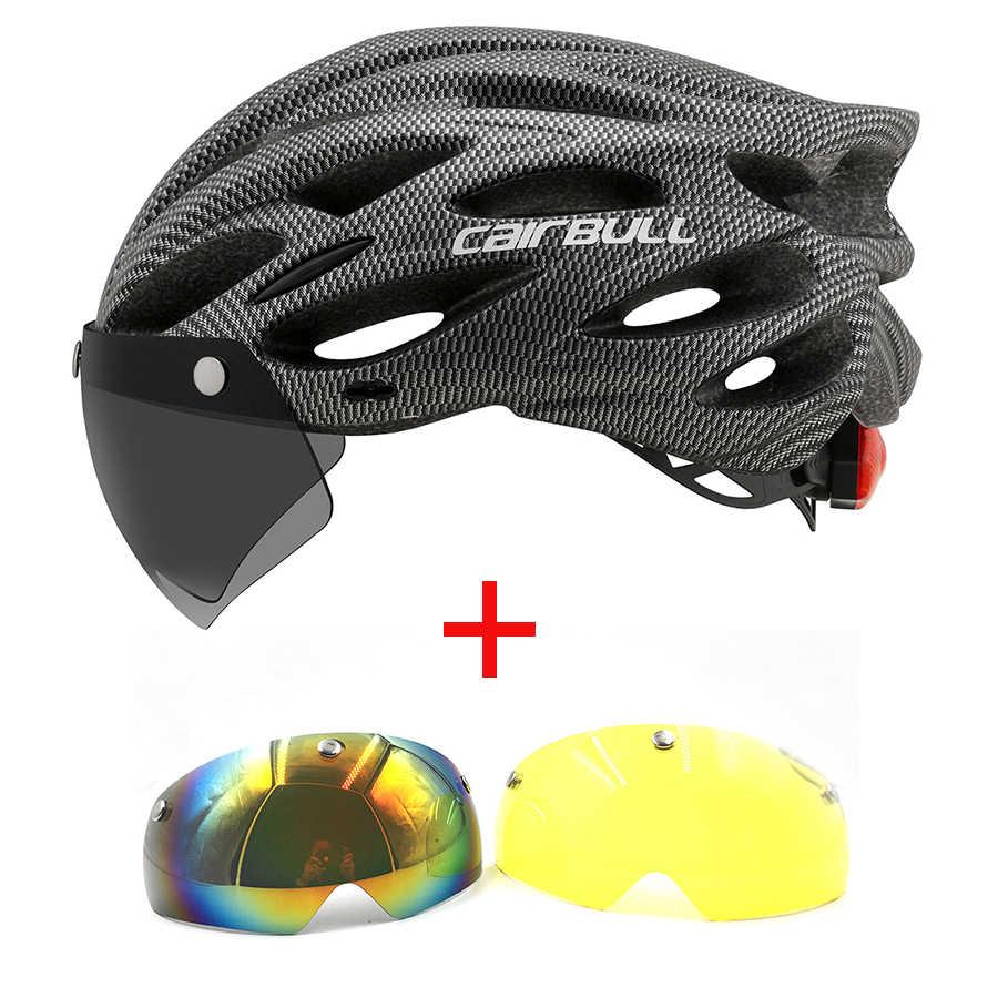 Sport Cycling Helmet Ultralight Removable Visor Goggle Taillight Bike Roads MTB