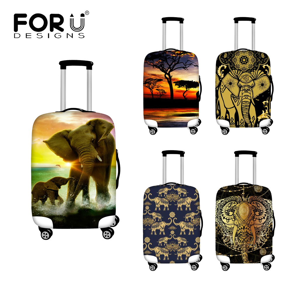 FORUDESIGNS Elastic Luggage Covers Art Elephant And Lotus Travel Accessories Trolley Baggage Apply To 18-32inch Suitcase Covers