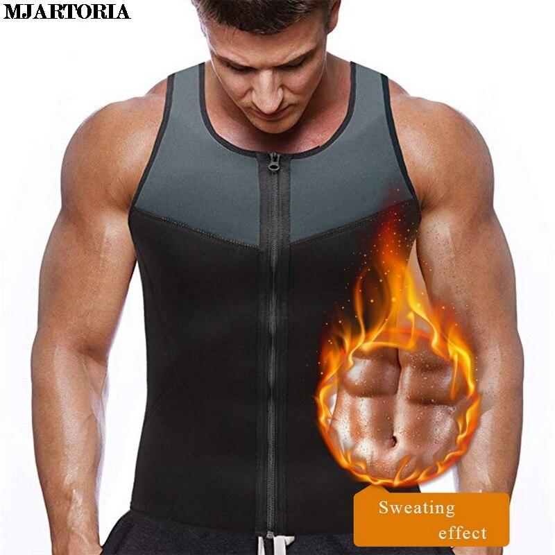 MJARTORIA 2019 Vest For Men Gym Shirt Colete Gilet Waist Trainer Body Shaper Slimming Tank Tops Weight Loss Male Workout Fitness