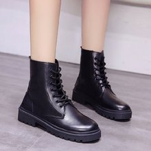 Купить с кэшбэком freeshipping2019 autumn and winter new women shoes Wild British style Solid color short lacing bright trendy Martin boots