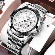 Langlishi 2020 novos relógios masculinos marca de luxo cronógrafo esporte relógios à prova dwaterproof água aço inoxidável relógio de quartzo